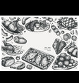 hand drawn cooked meat dishes frame design food vector image
