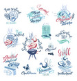 hand drawn watercolor signs and sticker of seafood vector image vector image