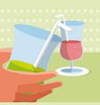hand grabbing a drink vector image