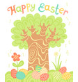 happy easter holiday card with a tree and painted vector image vector image