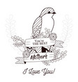 happy mothers day card with beautiful bird and vector image vector image