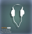 headphones icon On the blue-green abstract vector image vector image