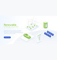 isometric green energy landing page distribution vector image