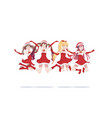 joyful anime manga girls as santa claus in a jump vector image vector image