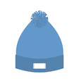 Knitted blue hat Winter cap Wool accessory for vector image
