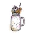 milkshake in mason jar vector image