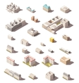 minimalistic city buildings icon set vector image