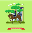 mounted police in flat style vector image vector image