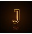 Neon 3D letter J vector image