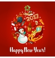 New Year poster with round babble vector image vector image