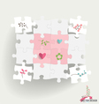 Paper cut of Puzzle with heart paper and flowers vector image vector image