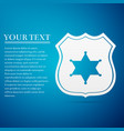 police badge flat icon on blue background vector image vector image