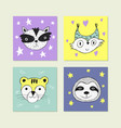 poster with hand drawn funny animal face vector image vector image