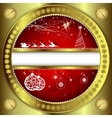 Red Christmas background with Golden frame vector image