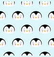seamless pattern of cute cartoon penguin design on vector image vector image