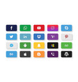 set of most popular social media icons vector image