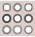 Set of Round Black Line Design Vintage Frames or vector image vector image