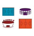 soccer stadium icon set color outline style vector image vector image