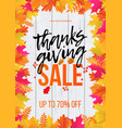 thanksgiving sale poster autumn promo discount vector image vector image