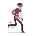 Thief is running away with stolen documents vector image