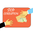 to stop the corruption money in the envelope vector image