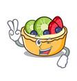 two finger fruit tart character cartoon vector image