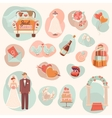 Wedding concept flat icons set vector image vector image