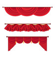 wide red drapes and lambrequins set vector image vector image