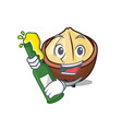 with beer macadamia mascot cartoon style vector image vector image