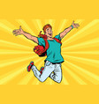 young man jumping for joy vector image vector image