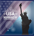 liberty statue over united states flag vector image