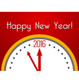 2016 Happy New Year greeting card with clock vector image vector image