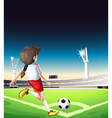 A female football player at the field vector image vector image