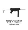 american m3 submachine gun ww2 grease gun vector image