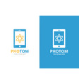 atom and phone logo combination molecule vector image vector image