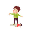 bad boy with happy face tore off doll s leg bully vector image vector image