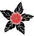 beautiful decorative red flower vector image vector image