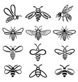 bee black and white icons vector image vector image