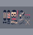 big set barber shop supplies vector image