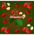 Card with strawberries on a green background vector image vector image