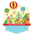 city town with hot air balloon card vector image vector image