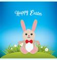 easter bunny in green field over sky blue gradient vector image