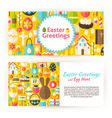Easter Greetings Flat Style Templates Set vector image vector image