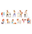family cleaning cartoon icons set vector image vector image