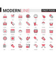 fast food flat thin red black line icons vector image