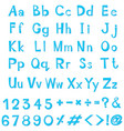 font design for english alphabets in blue vector image