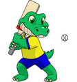 funny crocodile playing cricket vector image