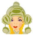 girl in fur hat vector image vector image