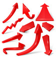 Glossy red 3d arrows isolated on white set