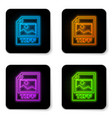 glowing neon tiff file document icon download vector image vector image